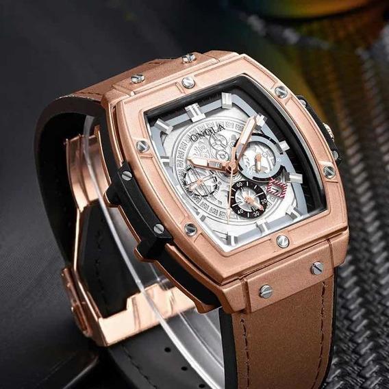Relógio Masculino De Pulso Onola Lindo Luxuoso Elegante
