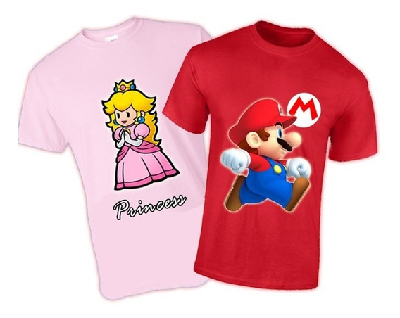 2 Playeras Super Mario Bross Peach Princesa Para Parejas