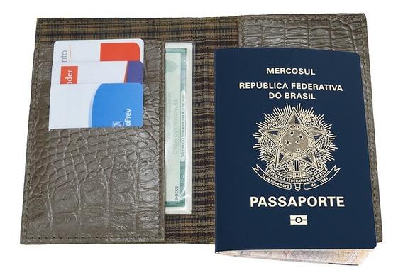 Porta Passaporte Couro Legítimo Croco Luxo Azul Preto Marrom