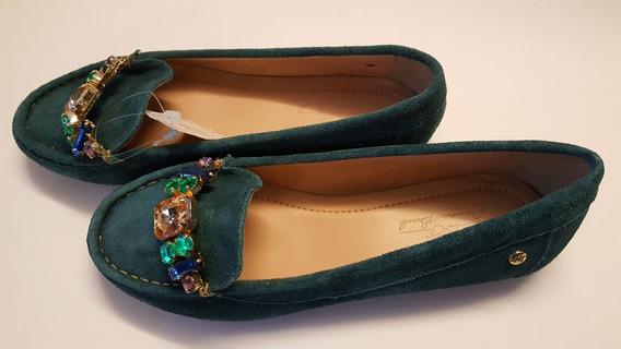 Sapato Feminino Mocassim Wj Verde Camurça E Pedras 36-50%off