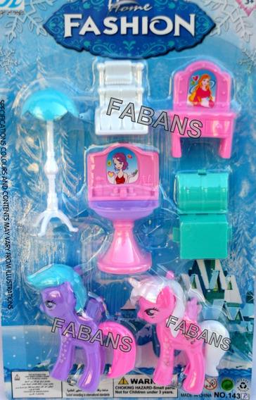Set 2 Pony Unicornio + Accesorios Juguete Niña Ponys Muñeca