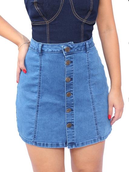 Saia Jeans Curta Botão Botões Frente Cintura Alta Lycra Luxo