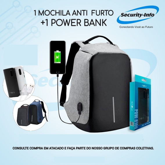Mochila Anti Furto Roubo Laptop Saída Usb + Power Bank