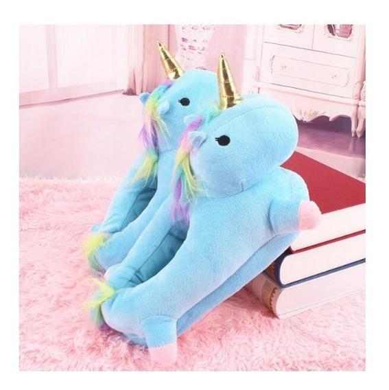 Pantufa Unicórnio Azul Kigurumi Confortável Cosplay Fantasia