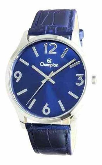Relógio Masculino Champion Prateado Couro Azul Cn20613f