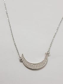 Colar Gargantilha Lua Zircônia Branca 50cm Prata 925