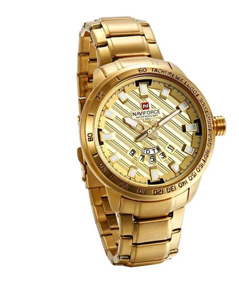 Relógio Masculino Dourado Cor Ouro Aço Inox Com Calendário