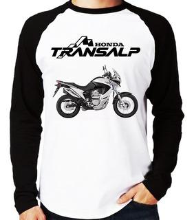 Camiseta Raglan Moto Honda Xl 700v Transalp Branca Longa