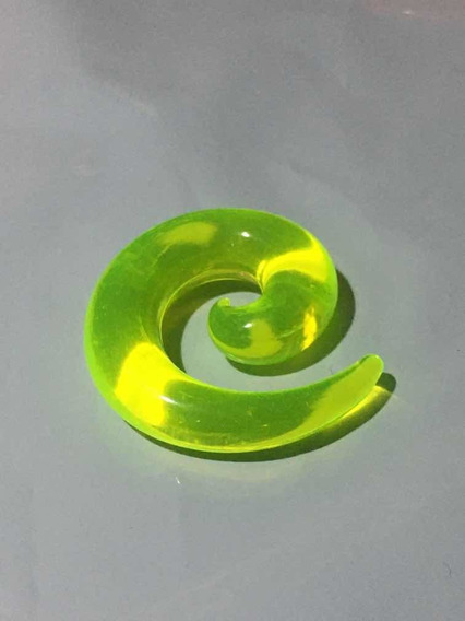 Piercing Alargador Acrílico Espiral 10mm Transparente Verde