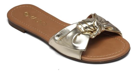 Slide Via Uno Eco Metalizado Dourado 127127sdavv