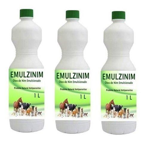 Óleo De Nim Emulsionado Proteção Para Animais Kit 3 Litros