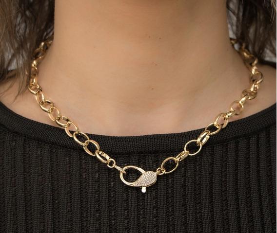 Gargantilha Feminina 40cm - Banhada Ouro 18k Com Zircônias
