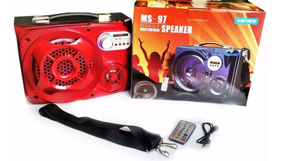 Caixa De Som Vermelha Radio Com Bluetooth E Fm Ms-97