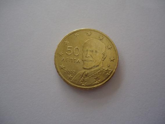 Moeda Bronze 50 Cent Euro 2002 República Grécia