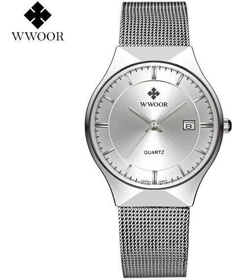 Wwoor Relógio De Luxo Masculino Ultra Fina Malha De Aço Inox