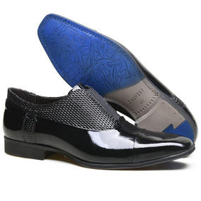 Sapato Social Couro Verniz Textura Diamante Zm3680 Calvest
