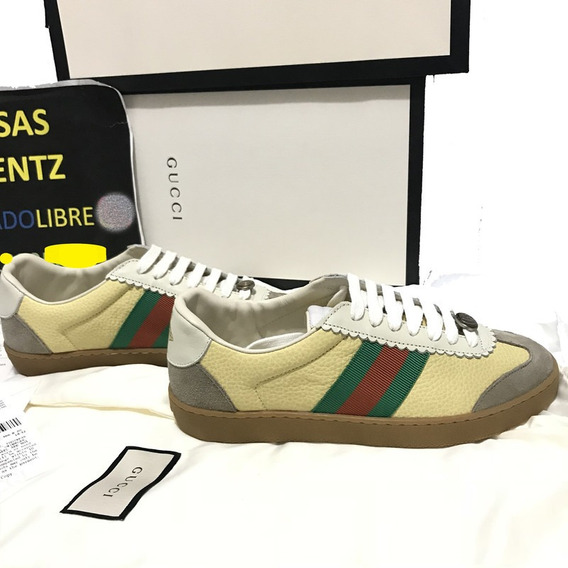 Tenis Gucci Leather With Web Sneakers Piel Caja Factura Gg