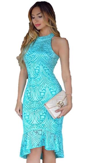 Vestido Festa Verde Tiffany Midi Mullet Renda Casamento M01