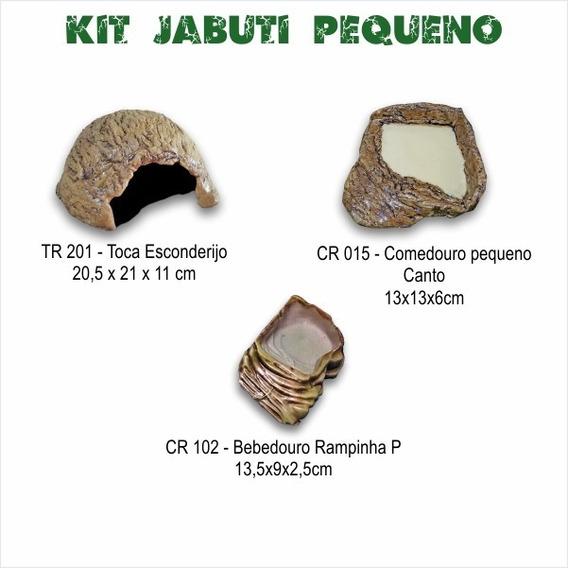 Kit Jabuti Pequeno - Toca + Comedouro + Bebedouro Reptmania