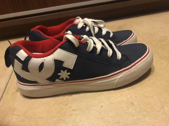 Zapatillas Dc Skate Azules Con Rojo