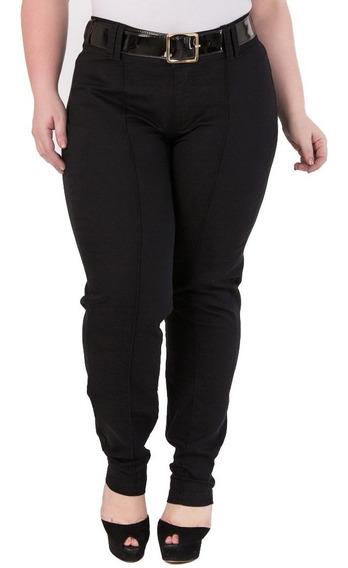 Calça Feminina De Sarja Com Elastano Preta Plus Size Csf003