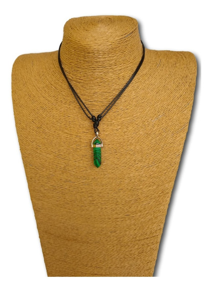 Colar De Pedra Natural Malaquita Ref: 7444 - Moda