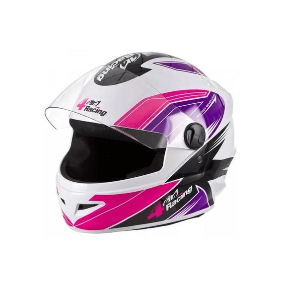 Capacete 4 Racing (viseira Cristal + Viseira Cromada) Pink