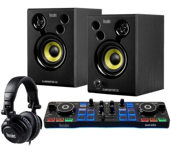 Kit Controlador + Audífonos + Parlantes Monitores - Hercules
