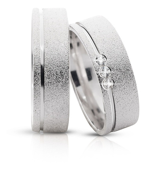 Aliança De Prata 950 Namoro 4mm Compromisso Diamantada