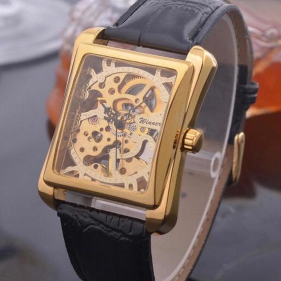 Relógio Masculino Automático Dourado Quadrado Mecanico Winne