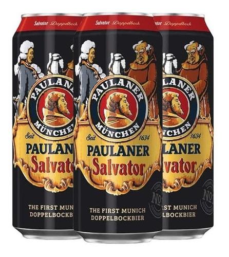 Imagem 1 de 5 de 3x Cerveja Alemã Paulaner Salvator 500ml