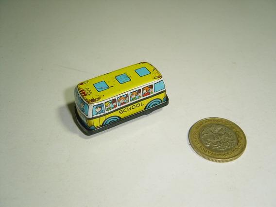 Vintage Mini Camioncito Escolar De Fricción Lamina Y Plástic