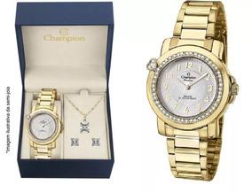 Kit Relógio Champion Feminino Cn28660w + Brincos E Colar