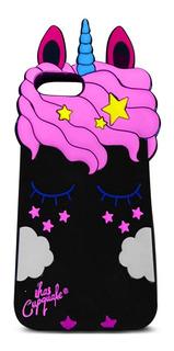 Capinha Capa Borracha Unicornio Rosa iPhone 7 Plus / 8 Plus