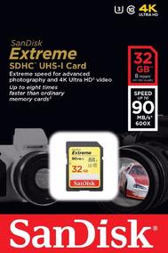 Cartão Sandisk Extreme 90mbs 4k 32gb Original Lacrado