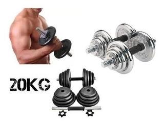 Set Mancuernas Pesas 20 Kg 44lb Gym Recubiertas Y Cromadas