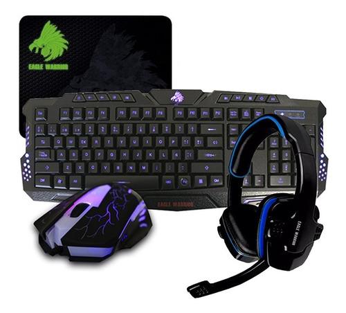 Imagen 1 de 4 de Kit Gamer Eagle Warrior Teclado Mouse Diadema G79 G16 Moupad