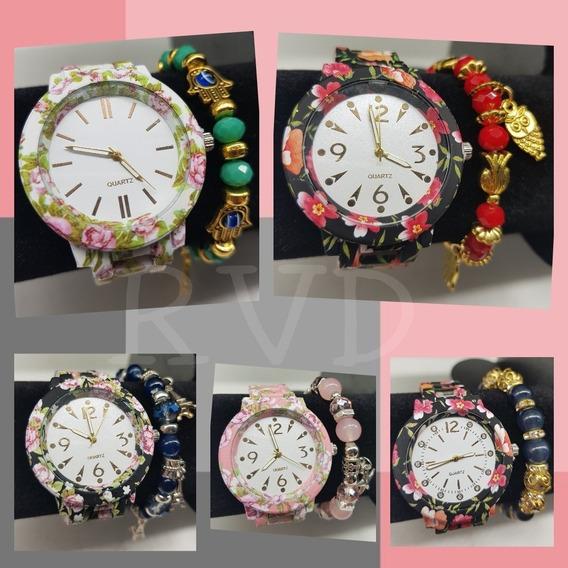 Kit Com 10 Relógios Feminino Floral Florido + Linda Pulseira