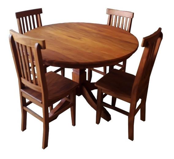Mesa Redonda 1,50 Madeira Maciça De Demolição+4 Cadeiras