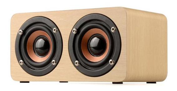 W5 Speaker Madeira 10w Suporte Aux Tf Cartão Microfone Poder