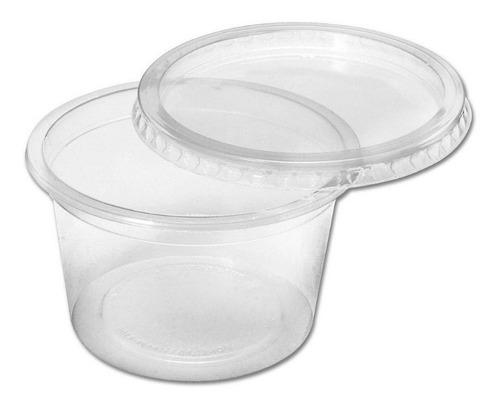 Pote Con Tapa Plastico Descartable 500ml X100u Copobras C
