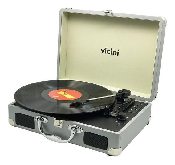 Radio Vitrola Toca Discos Bluetooth Prata Usb Maleta Retrô