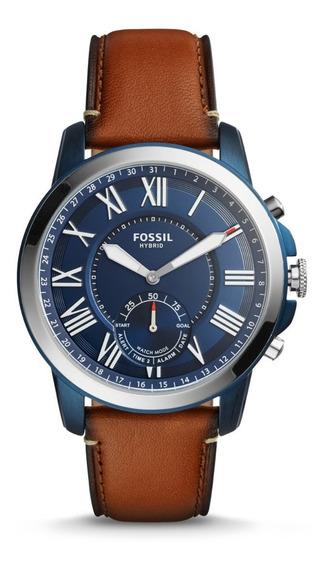 Reloj Fossil Original Correa Cuero Hibrid Ftw1147 Smartwatch
