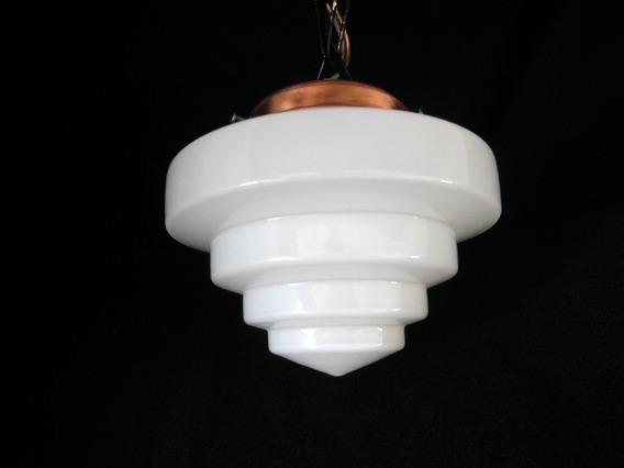Antiga Luminária C/ Globo Opalina 16cm Tampa Cobre