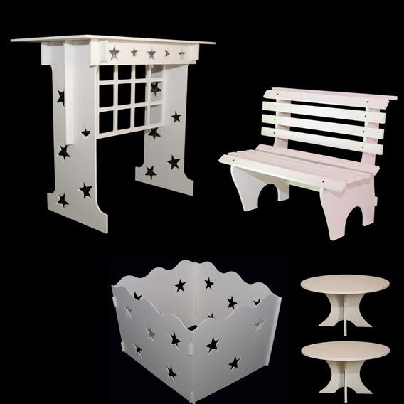 Mesa+caixa De Presente +02 Porta Doce+banco Pintados !!