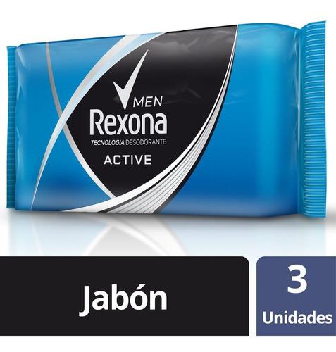 Rexona Men Active Jabon En Barra 3 Unidades X 125 Gr