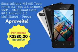 Smartphone Ms45s Teen Preto 3g Tela 4.5 Camera 5mp + 3mp