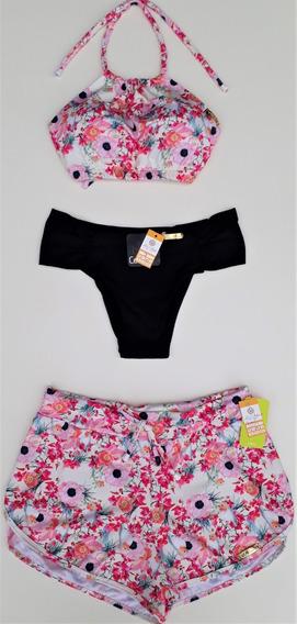 Kit Biquini Top Cropped Calcinha Shorts Praia Tal Mãe Filha