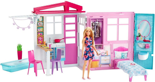 Barbie Casa Glam Casita De 60 Cm. Plegable Portatil + Muñeca