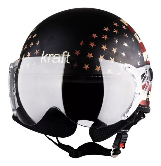 Capacete Kraft Plus Usa Preto Fosco Custom Harley